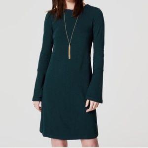Ann Taylor LOFT Bell Sleeve Dress Forest Emerald